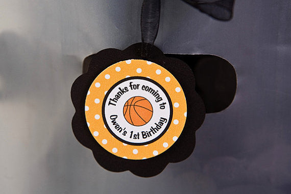 Basketball Favor Tags Birthday Party - Black & Orange - Get The Party Started