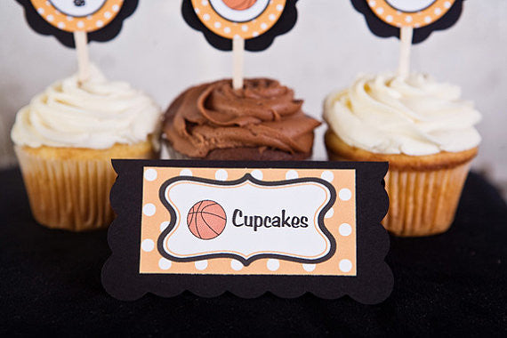 Basketball Food Tents Baby Shower- Black & Orange - Get The Party Started