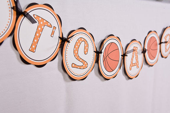 Basketball It's A Boy Banner Baby Shower Large- Black & Orange - Get The Party Started