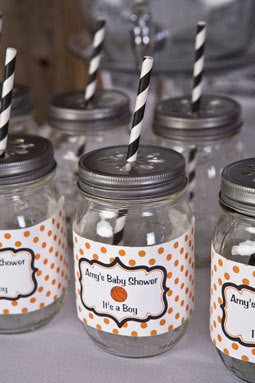 Basketball Water Bottle Labels Baby Shower- Black & Orange - Get The Party Started