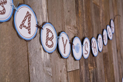 Birdie Baby Shower Banner Large- Brown & Blue - Get The Party Started