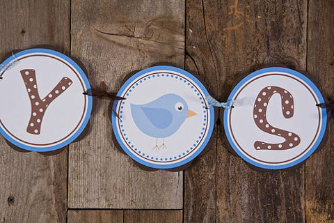 Birdie Baby Shower Banner- Brown & Blue - Get The Party Started