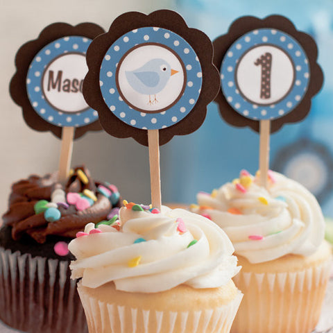 Birdie Cupcake Toppers Birthday Party - Brown & Blue - Get The Party Started