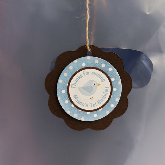 Birdie Favor Tags Birthday Party - Brown & Blue - Get The Party Started