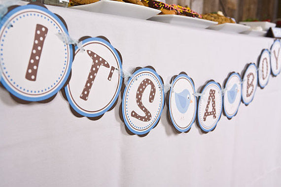 Birdie It's A Boy Banner Baby Shower- Brown & Blue - Get The Party Started