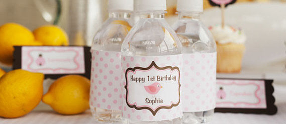 Birdie Water Bottle Labels Birthday Party - Pink & Brown - Get The Party Started
