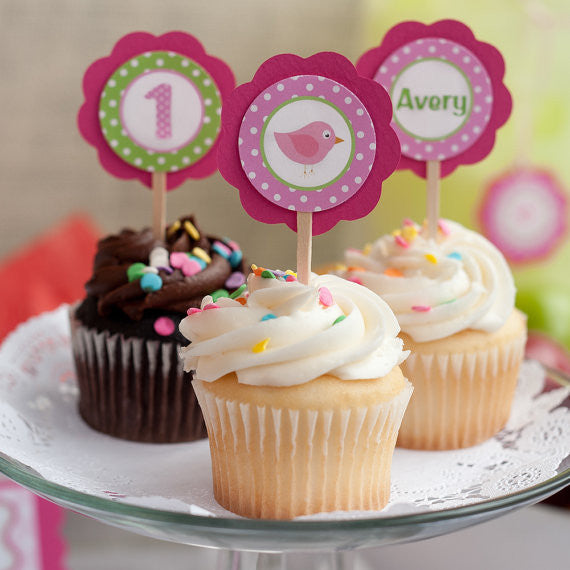 Birdie Cupcake Toppers Birthday Party - Hot Pink & Lime Green - Get The Party Started