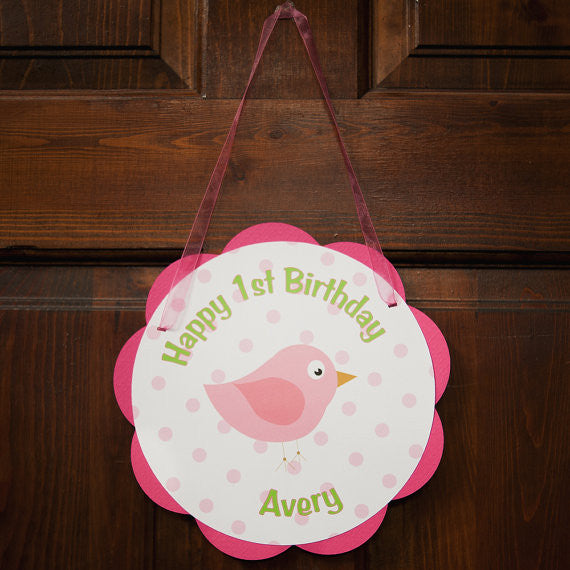 Birdie Door Sign Birthday Party - Hot Pink & Lime Green - Get The Party Started