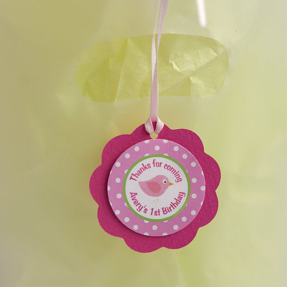 Birdie Favor Tags Birthday Party - Hot Pink & Lime Green - Get The Party Started