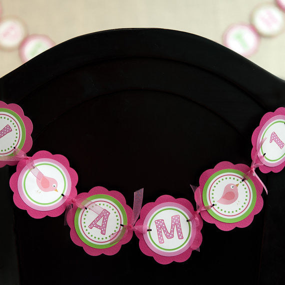 Birdie I Am 1 Mini Banner Birthday Party - Hot Pink & Lime Green - Get The Party Started