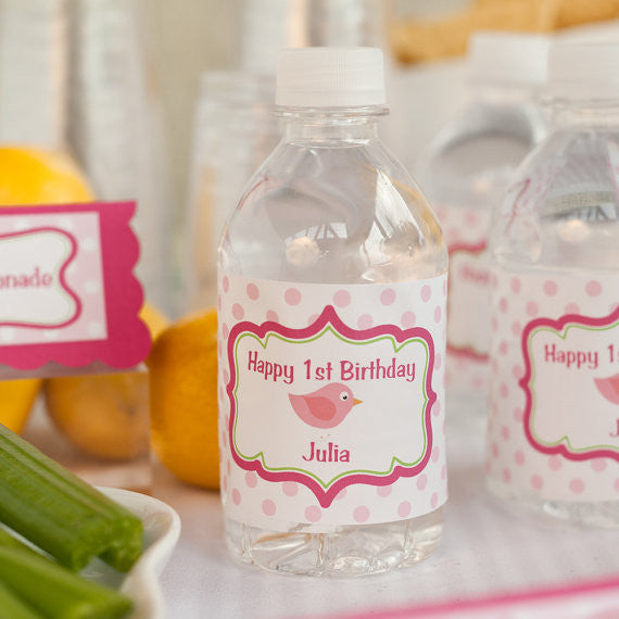 Birdie Water Bottle Labels Birthday Party - Hot Pink & Lime Green - Get The Party Started
