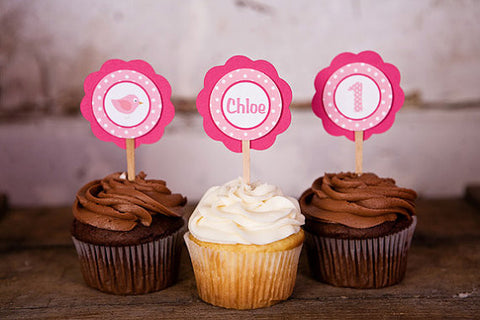 Birdie Cupcake Toppers Birthday Party - Hot Pink & Light Pink - Get The Party Started