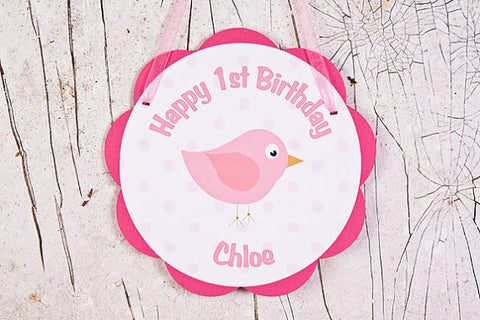Birdie Door Sign Birthday Party - Hot Pink & Light Pink - Get The Party Started