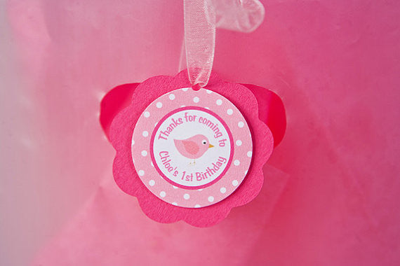 Birdie Favor Tags Birthday Party - Hot Pink & Light Pink - Get The Party Started