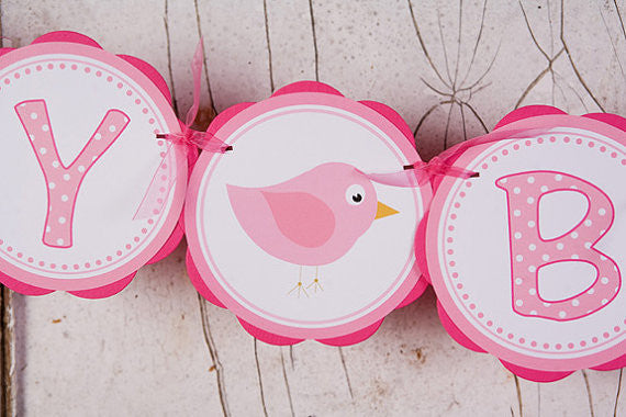 Birdie Happy Birthday Banner - Hot Pink & Light Pink - Get The Party Started