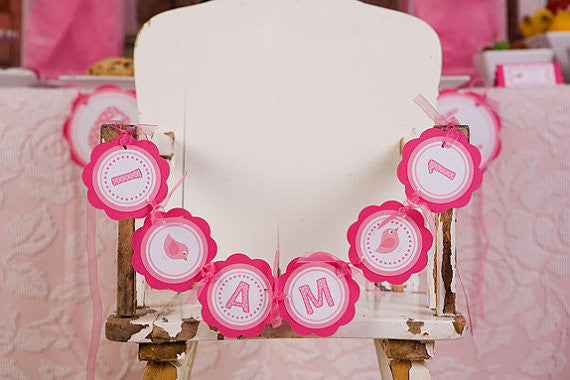 Birdie I Am 1 Mini Banner Birthday Party - Hot Pink & Light Pink - Get The Party Started