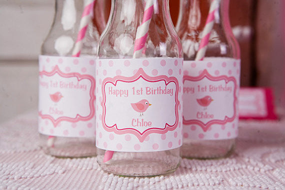 Birdie Water Bottle Labels Birthday Party - Hot Pink & Light Pink - Get The Party Started