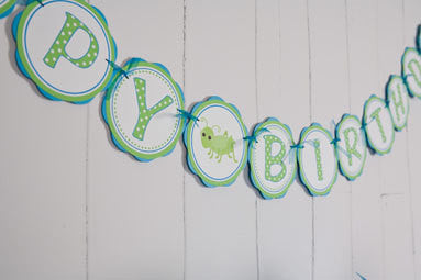 Bug Insect Happy Birthday Banner Large - Aqua & Green - Get The Party Started