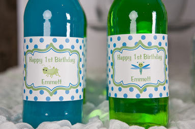 Bug Insect Water Bottle Labels Birthday Party - Aqua & Green - Get The Party Started