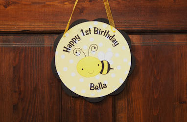 Bumble Bee Door Sign Birthday Party - Black & Yellow - Get The Party Started