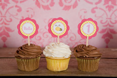 Bumble Bee Cupcake Toppers Birthday Party - Hot Pink & Yellow - Get The Party Started