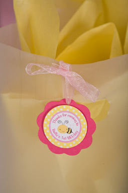 Bumble Bee Favor Tags Birthday Party - Hot Pink & Yellow - Get The Party Started