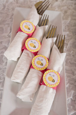 Bumble Bee Napkin Rings Birthday Party - Hot Pink & Yellow - Get The Party Started