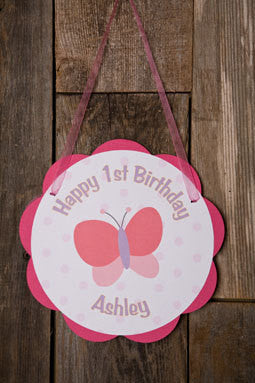 Butterfly Door Sign Birthday Party - Get The Party Started