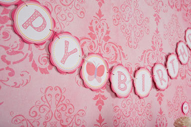 Butterfly Happy Birthday Banner Large - Get The Party Started