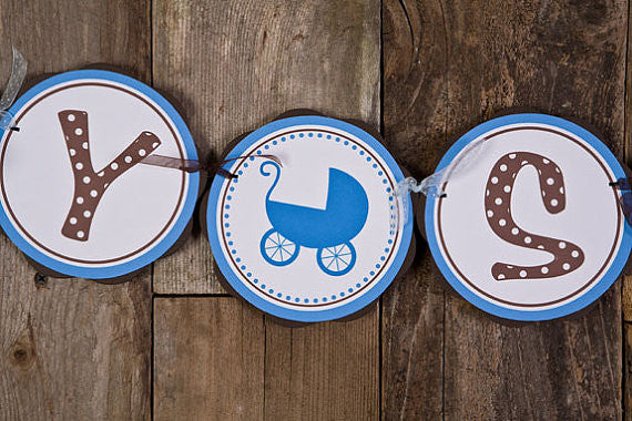 Carriage Baby Shower Banner- Brown & Blue - Get The Party Started