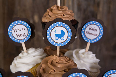 Carriage Cupcake Toppers Baby Shower - Brown & Blue - Get The Party Started