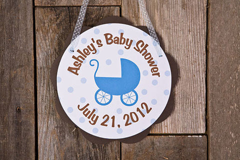 Carriage Door Sign Baby Shower- Brown & Blue - Get The Party Started