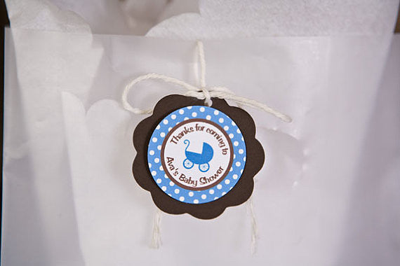 Carriage Favor Tags Baby Shower- Brown & Blue - Get The Party Started