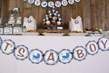 Carriage It's A Boy Banner Baby Shower- Brown & Blue - Get The Party Started