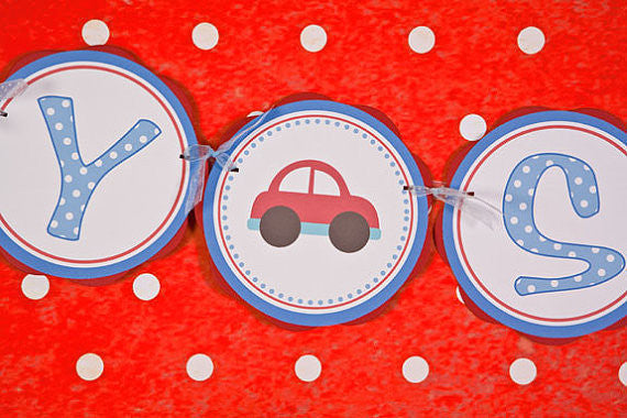Cars Baby Shower Banner- Red & Blue - Get The Party Started
