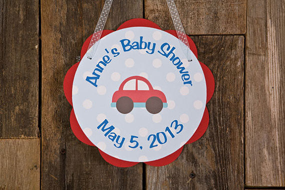 Cars Door Sign Baby Shower- Red & Blue - Get The Party Started