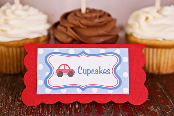 Cars Food Tents Baby Shower- Red & Blue - Get The Party Started
