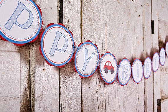 Cars Happy Birthday Banner Large - Red & Blue - Get The Party Started