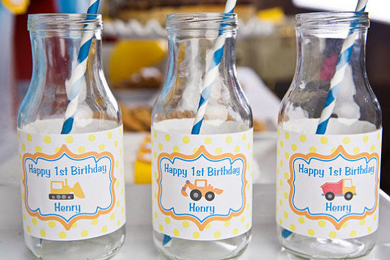 Construction Water Bottle Labels Birthday Party - Get The Party Started