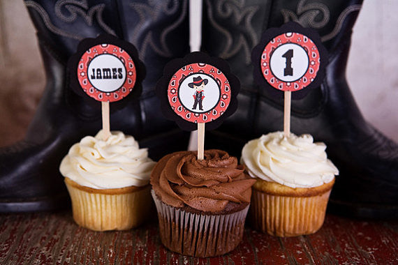 Cowboy Cupcake Toppers Birthday Party - Red & Black - Get The Party Started