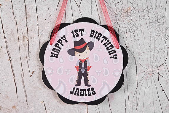 Cowboy Door Sign Birthday Party - Red & Black - Get The Party Started