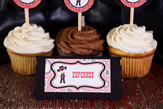 Cowboy Food Tents Baby Shower- Black & Red - Get The Party Started