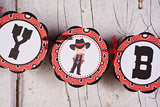 Cowboy Happy Birthday Banner Large - Red & Black - Get The Party Started