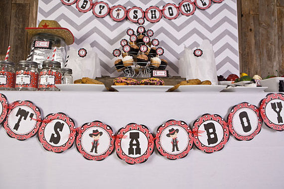 Cowboy It's A Boy Banner Baby Shower- Black & Red - Get The Party Started