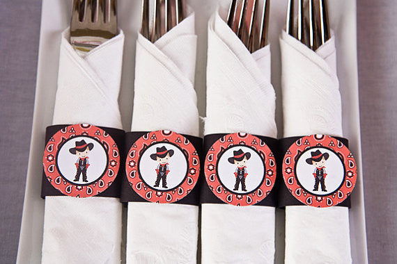 Cowboy Napkin Rings Birthday Party - Red & Black - Get The Party Started