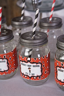 Cowboy Water Bottle Labels Baby Shower- Black & Red - Get The Party Started