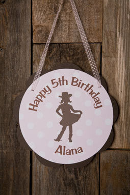 Cowgirl Door Sign Birthday Party - Pink & Brown - Get The Party Started