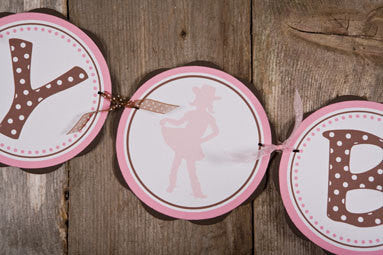 Cowgirl Happy Birthday Banner - Pink & Brown - Get The Party Started