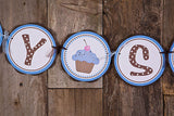 Cupcake Baby Shower Banner- Brown & Blue - Get The Party Started