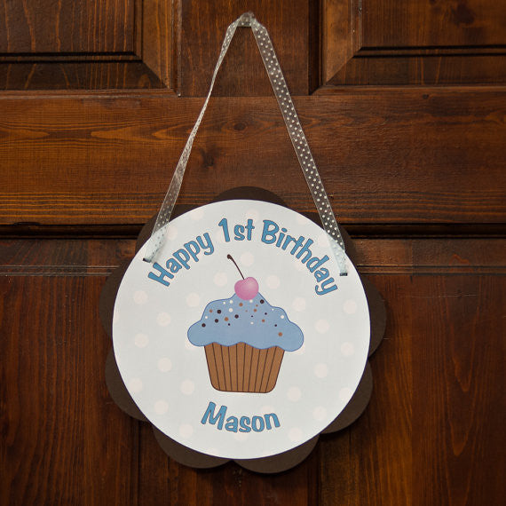 Cupcake Door Sign Birthday Party - Blue & Brown - Get The Party Started